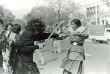 Jugnu Mohsin and a police woman